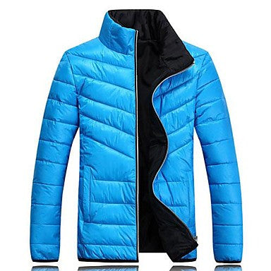 Men's Pure Color With Thick Cotton-Padded Clothes Coat