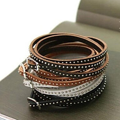 Fashion Multilayer Thin Rivet Twine 90cm Leather Bracelet(Coffee,Black,Brown,White)(1 Pc)