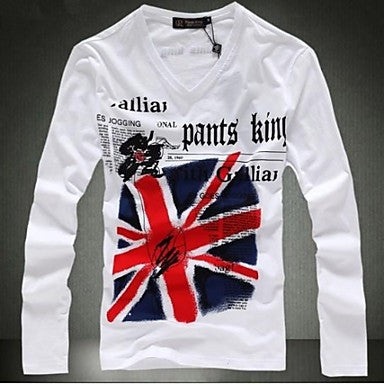 Men's Fashion Brand Print Cotton Long Sleeve T-shirt
