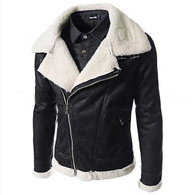 Men's Lapel Collar Slim Inclined Zipper Leather Coat