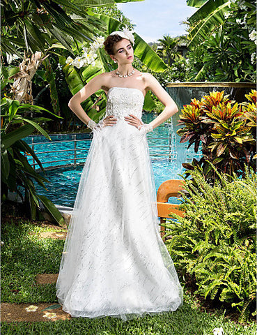 A-line Strapless Satin Floor-length Wedding Dresses