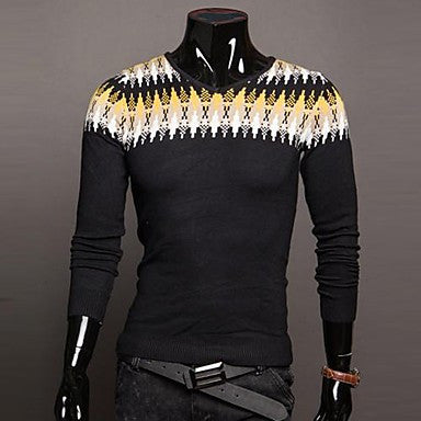 Men's Thicken V Neck Long Sleeve Sweater