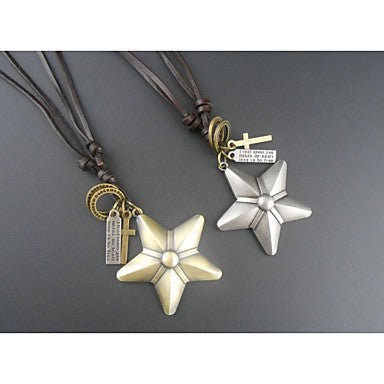 European Vintage Five Point Star Pandant Necklace(1pc)