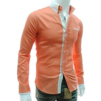 Men's V Neck Fashion Candy Color Slim Casual Long Sleeved Shirt