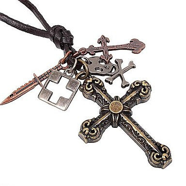 Classic Flower Cross Pandent Hide Rope Men's Necklaces(1pc)