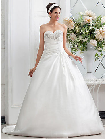 A-line Princess Sweetheart Chapel Train Criss Cross Satin Wedding Dress