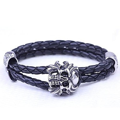 Mumar Fshionable Jewelry Leather Rope Wrap Stainless Steel Bracelets