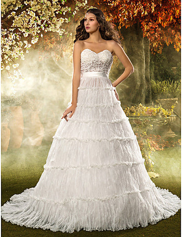 A-line/Princess Sweetheart Court Train Organza And Lace Wedding Dress