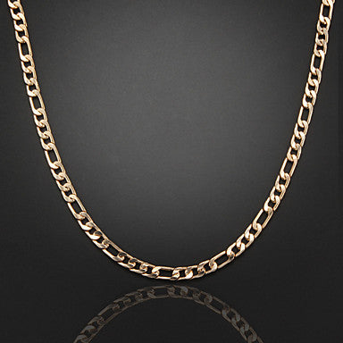 60cm,8mm,18K Gold Plated Thick Chunky Figaro Chain Men's Chain Necklace,Lobster Clasp