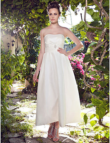 A-line Strapless Ankle-length Taffeta Wedding Dress