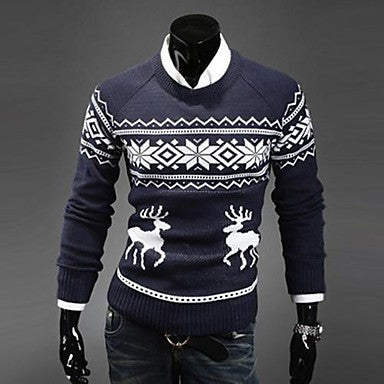 Men's Round Collar Korean Style Slim Deer sweater