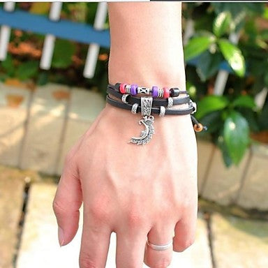 Vintage 24cm Unisex Black Leather Bracelet (1 Pc)