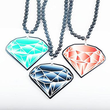 Colour Diamond Pattern Acrylic Necklace