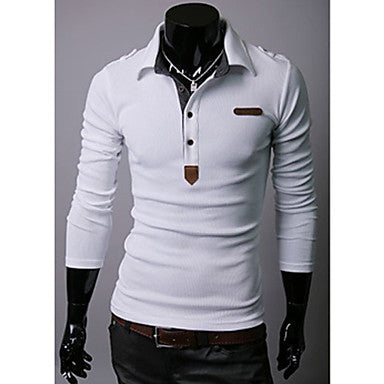 Men's Epaulet Long Sleeve POLO T-Shirt