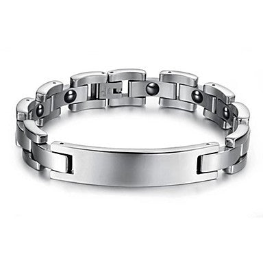 Black Gallstone Anti-fatigue Smooth Stainless Steel Men Care Bracelet