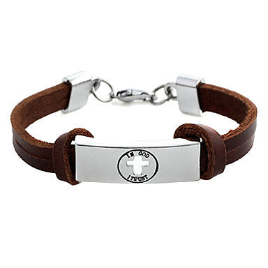 Punk 7cm Men's coffee Leather Leather Bracelet (1 Pc)