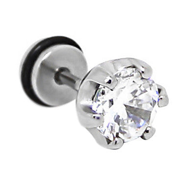 Fashion Zircon Rhinestone Titanium Steel Stud Earrings(Black,White) (1 Pc)