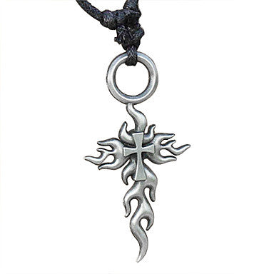 Fashion Cross (Flame Pendant) Silver Alloy Pendant Necklace(1 Pc)