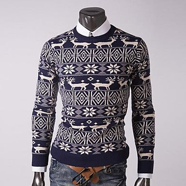 Men's Round Collar Casual Long Sleeve Sweater