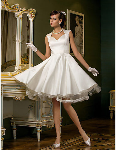 Wedding Dress A Line Knee Length Tulle Satin Queen Anne Neckline Little White Dress
