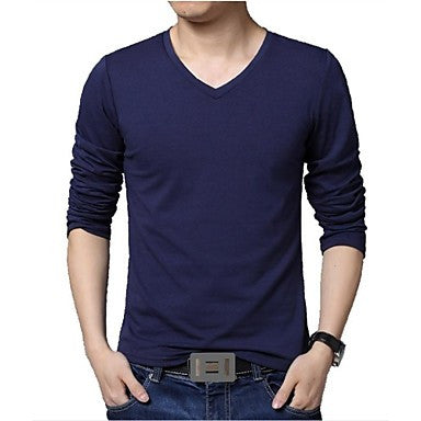 Men's V neck Long sleeved T-shirt