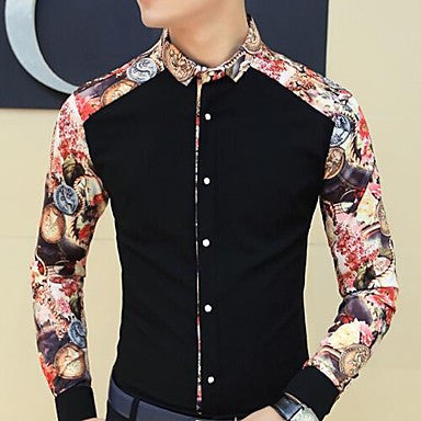 Men's New Spring Korean Splicing Sleeved Shirt