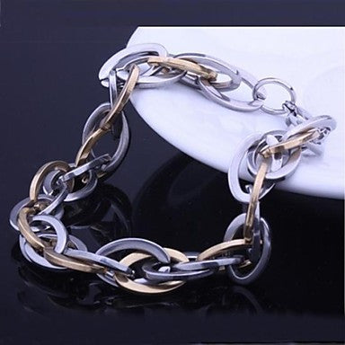 Men's Fashion Personality Titanium Steel Golden Manual Bracelets