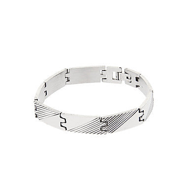 Classic Twill Tape 41cm Men's Silver Titanium Steel ID Bracelet(1 Pc)