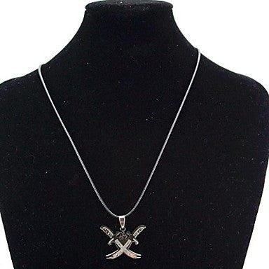 Fashion Stainless Steel Double Broadsword Pendant Necklace