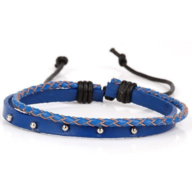 Two Layer Real Leather Bracelet With Rivet And Royal Blue Braiding (1 Piece)