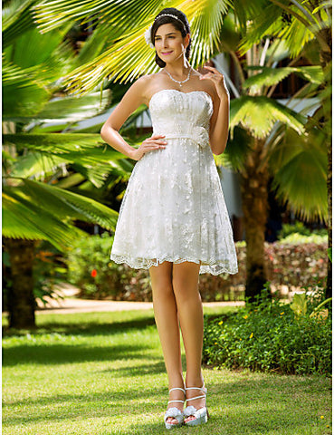 A-line Sweetheart Knee-length Lace Wedding Dress