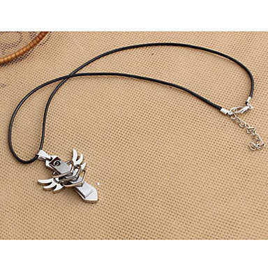 Fashion Wing And Heart Black Leather Pendant Necklace (1 Pc)