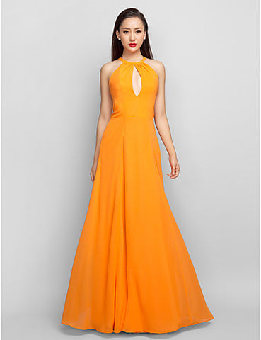 A-line Halter Floor-length Chiffon Evening/Prom Dress