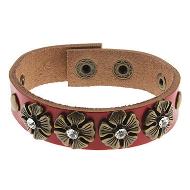 Diamond-studded Flower Leather Bracelet