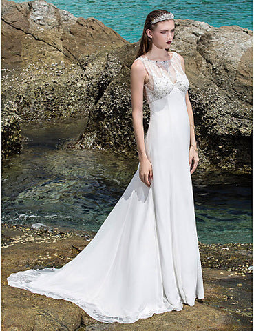 Sheath/Column Scoop Chiffon And Stretch Satin Court Train Wedding Dresses