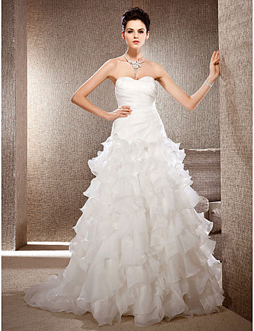 Fit and Flare Strapless Court Train Organza Wedding Dress