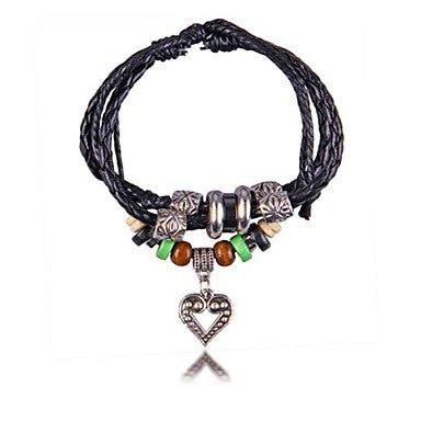 Metal Heart Wood Beads Leather Bracelets(Hualuo Jewelry)