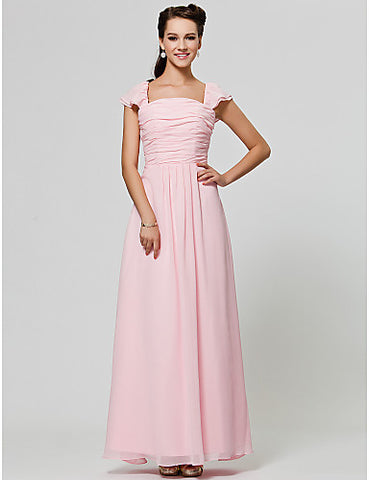 Bridesmaid Dress Floor Length Chiffon A Line Square Dress
