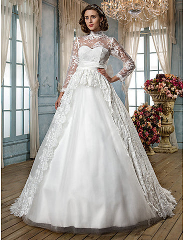 A-line Princess High Neck Court Train Lace And Tulle Wedding Dress