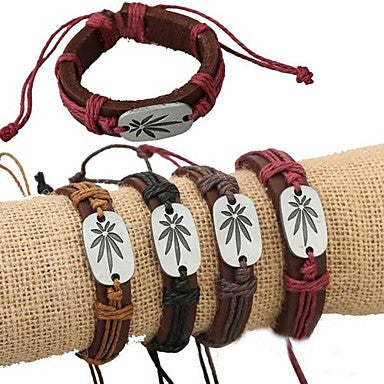 European Style Fashion Punk Alloy Maple Accessories Leather Bracelet