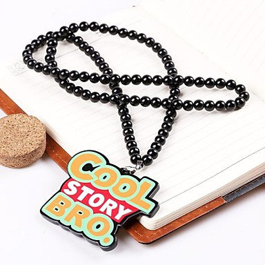 Word COOL STORY BRO Pattern Acrylic Necklace