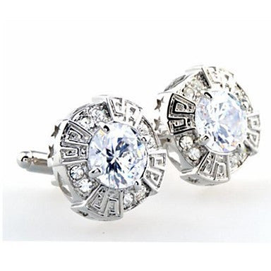Fashion Men's Silver Copper Crystal Cufflinks (Silver)(1 Pair)