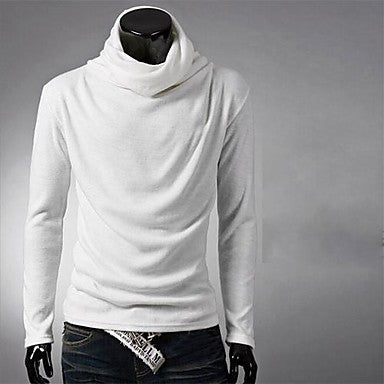 Men's Fashion High Neck Solid Color Long Sleeve T-Shirts