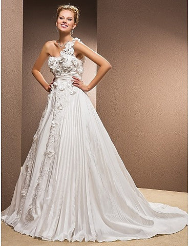 A-line One Shoulder Chapel Train Taffeta Wedding Dress