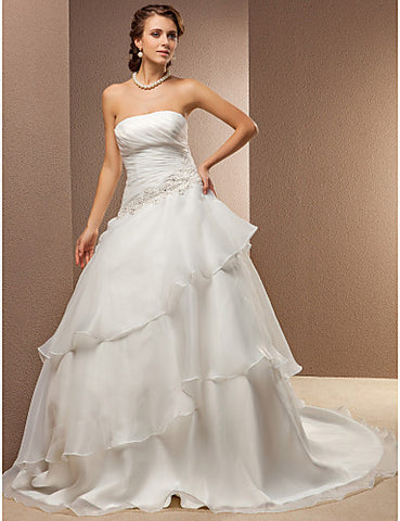 Wedding Dress A Line Chapel Train Organza and Satin Strapless With Tiers and Beading Appliques