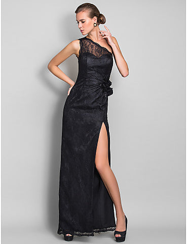 Sheath/Column One Shoulder Floor-length Lace Bridesmaid Dress