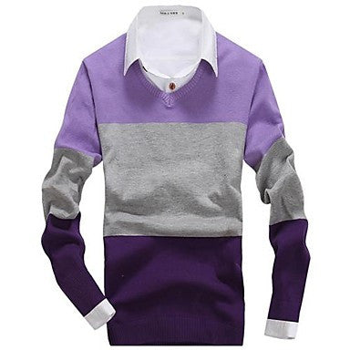 Men's New V Neck Bump Color Knit Sweater