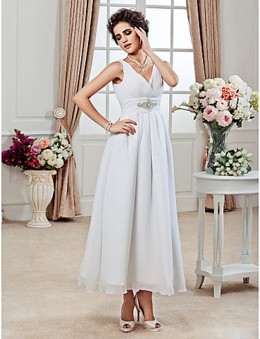 A-line V-neck Ankle-length Chiffon Wedding Dress