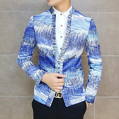 Men's Spring New Irregular Line Stripe Pattern Self-cultivation Leisure Blazer