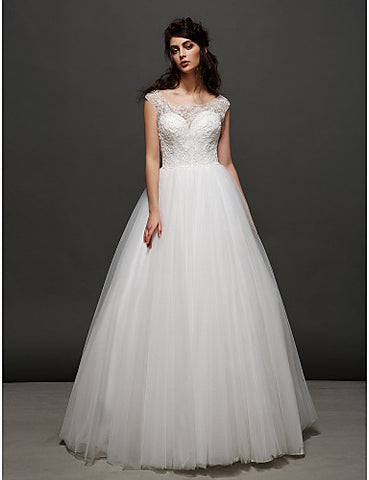 Ball Gown Scoop Sweep/Brush Train Lace And Tulle Wedding Dress (2448984)